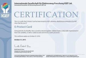 E-PROTECT-CARD certyfikat